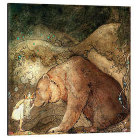 Alluminio Dibond  she kissed the bear on the nose - John Bauer