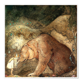 Poster  she kissed the bear on the nose - John Bauer