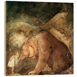 Legno  she kissed the bear on the nose - John Bauer