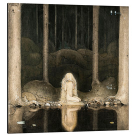 Stampa su alluminio  Princess Tuvstarr gazing down into the dark waters of the forest tarn - John Bauer