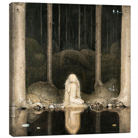 Stampa su tela  Princess Tuvstarr gazing down into the dark waters of the forest tarn - John Bauer