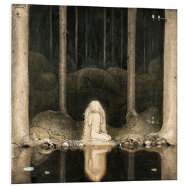 Stampa su schiuma dura  Princess Tuvstarr gazing down into the dark waters of the forest tarn - John Bauer
