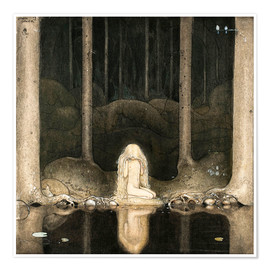 John Bauer - Princess Tuvstarr gazing down into the dark waters of the forest tarn