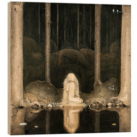 Legno  Princess Tuvstarr gazing down into the dark waters of the forest tarn - John Bauer
