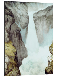 Stampa su alluminio  At the waterfall - Theodor Kittelsen