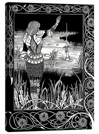 Stampa su tela  How Sir Bedivere Cast the Sword Excalibur into the Water - Aubrey Vincent Beardsley