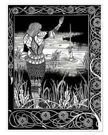 Poster Premium  How Sir Bedivere Cast the Sword Excalibur into the Water - Aubrey Vincent Beardsley