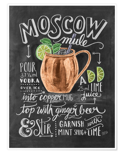 Poster Premium Ricetta Moscow mule (in inglese)