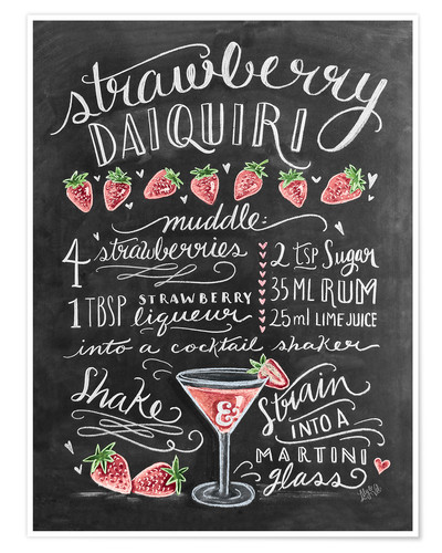 Poster Premium Ricetta Strawberry Daiquiri (in inglese)