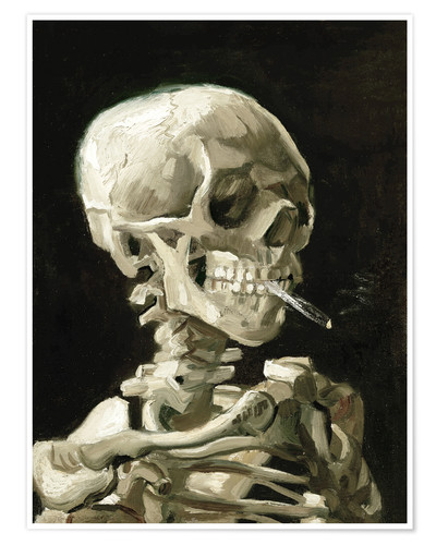 Poster Skeleton with a burning cigarette