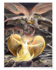 Poster  the great red dragon and the woman clothed with sun - William Blake