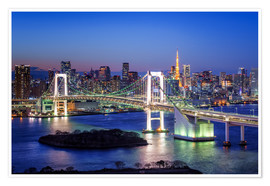 Poster  Tokyo Rainbow Bridge with Tokyo tower at night - Jan Christopher Becke