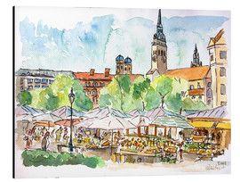 Alluminio Dibond  Munich Food Market Square Day in Summer Aquarell - M. Bleichner