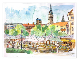 Poster Premium  Munich Food Market Square Day in Summer Aquarell - M. Bleichner