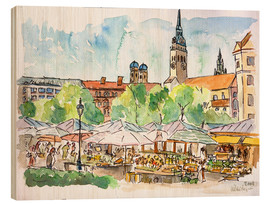 Legno  Munich Food Market Square Day in Summer Aquarell - M. Bleichner
