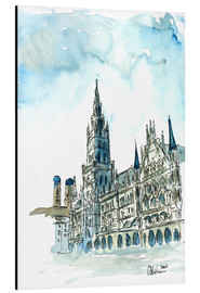 Alluminio Dibond  Munich City Hall Aquarell - M. Bleichner