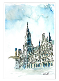 Poster Premium Munich City Hall Aquarell