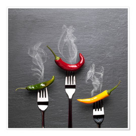 Poster Premium steaming colorful chili peppers