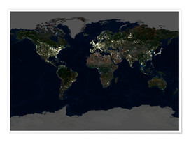 Poster Premium Whole Earth at night