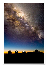 Poster Premium Mauna Kea telescopes and Milky Way