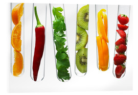 Stampa su vetro acrilico  Fruit and vegetables in test tubes