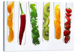 Stampa su tela  Fruit and vegetables in test tubes