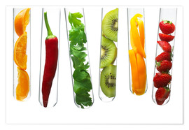 Poster Premium  Fruit and vegetables in test tubes