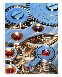 Poster Internal cogs and gears of a 17-jewel Swiss watch