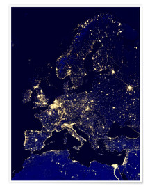 Poster Premium  Europe at night - Nasa