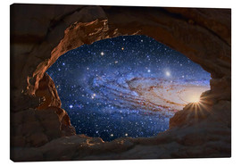 Stampa su tela  Galaxy seen through a rock arch - Tony & Daphne Hallas