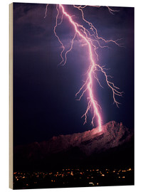Stampa su legno  Lightning over Tucson - Keith Kent