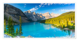 Poster Premium Moraine Lake at the morning panorama