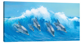 Stampa su tela  Leaping Dolphins - John Butler