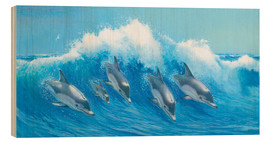 Stampa su legno  Leaping Dolphins - John Butler