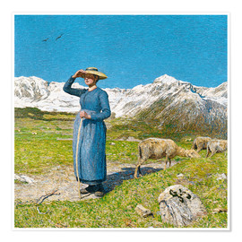 Poster  Lunch in the Alps - Giovanni Segantini