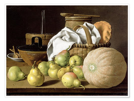 Poster Premium  Still Life with Melon and Pears - Luis Egidio Meléndez