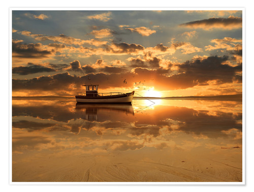 Poster Premium The fishing boat in the sunset