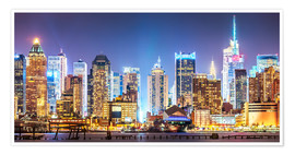Poster Premium New York Midtown Skyline by Night