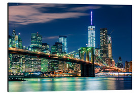 Alluminio Dibond  New York Skyline with Brooklyn Bridge by Night - Sascha Kilmer