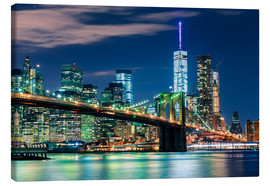 Stampa su tela  New York Skyline with Brooklyn Bridge by Night - Sascha Kilmer