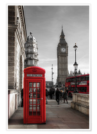Poster  London Telephone Box and Big Ben - Filtergrafia