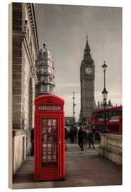 Legno  London Telephone Box and Big Ben - Filtergrafia