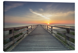Stampa su tela  Schoenberger beach jetty at sunrise - Dennis Stracke