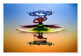 Poster Premium Water droplets in rainbow colors