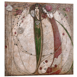 Stampa su schiuma dura  The White Rose And The Red Rose - Margaret MacDonald Mackintosh