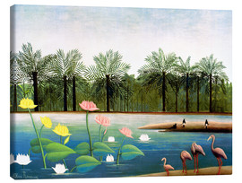 Stampa su tela  The Flamingos - Henri Rousseau