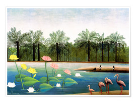 Poster Premium  The Flamingos - Henri Rousseau