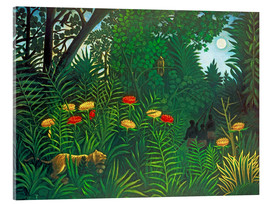 Stampa su vetro acrilico  Exotic landscape with tiger and hunters - Henri Rousseau