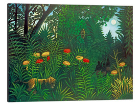 Alluminio Dibond  Exotic landscape with tiger and hunters - Henri Rousseau