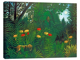 Stampa su tela  Exotic landscape with tiger and hunters - Henri Rousseau